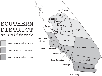 Historical Decades Central District Of California United - Us federal court districts map